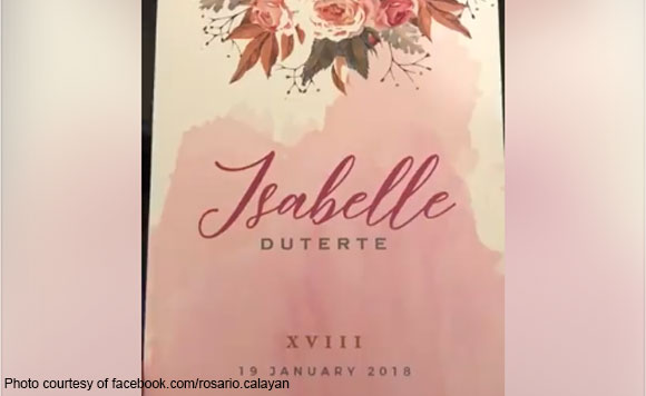 Yayamanin check out isabelle dutertes led powered debut invitations isabelle duterte lovelie duterte dr pie calayan australia nice print print divas stopboris Choice Image